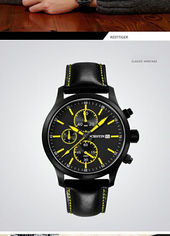 Большой циферблат Часы Мужчины Оригинальный Бренд OCHSTIN Спортивные Часы Моды для Мужчин наручные часы Хронограф водонепроницаемый Мужской кожаный Кварцевые часы