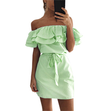Buy Cute Ruffles Women Striped Dress Summer Sexy Slash Neck Mini Dress Vestidos Girls Bandage Striped Party Dresses Plus Size GV563 for $8.18 in AliExpress store