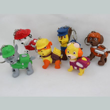 2016 new cute dog patrol keychain toy with LED lights hanging children's animation sound toys children gift(China (Mainland))