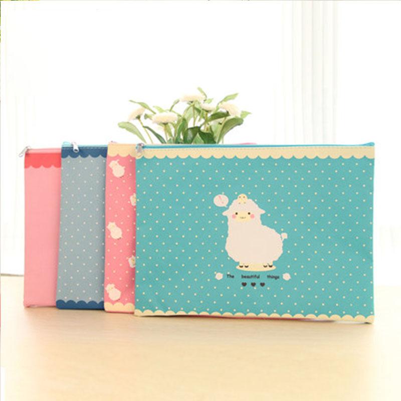 4pcs/lot Kawaii stationery Cute Sheep A4 paper file folder Portable document bag for students zipper Office School Supplies<br><br>Aliexpress