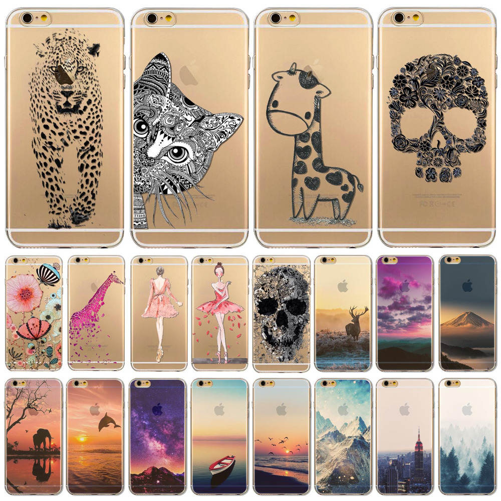 """Fundas Phone Case Cover For iPhone 6 6s 4.7"""" Ultra Soft TPU Silicon Transparent Flowers Animals Scenery Mobile Phone Bag Cover(China (Mainland))"""