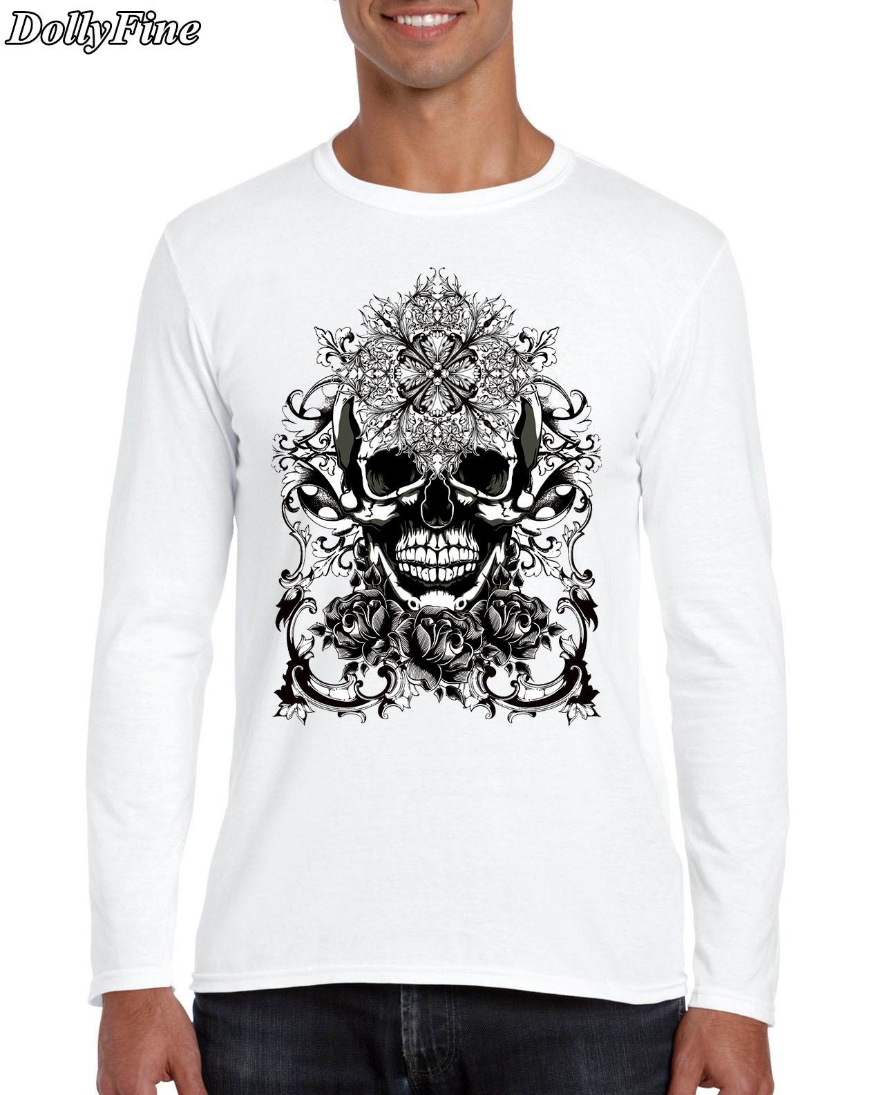 Shirts human design - New Color Human Skeleton Design Men S T Shirt Cool Fashion Tops Long Sleeve Tees Printed Funny