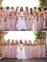 Dusty Pink One Shoulder A-Line V Neck Sleeveless Ruched Bridesmaids Gowns