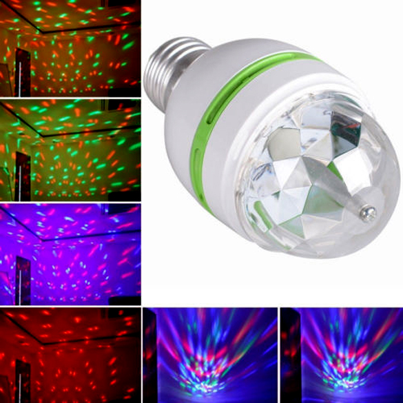 E27 3W Colorful Auto Rotating RGB LED Bulb Stage Light Party Lamp Disco