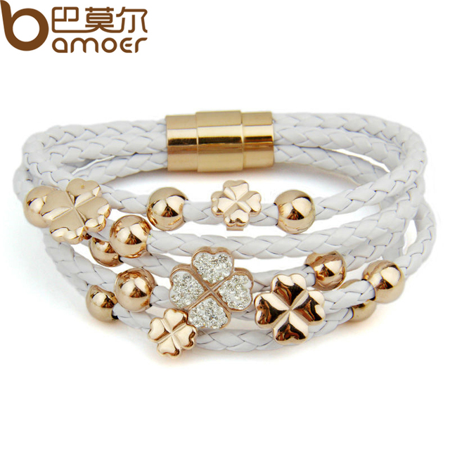 Alibaba express Hot Sell Leather 18k Rose Gold Plated Bracelet for Women Four Leaf Clover Crystal Charm Jewelry PI0697