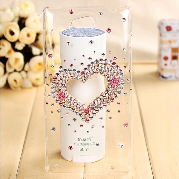 Fashion3D Heart handmade bling diamond Transparent skin cover back hard case LG G Pro Lite D686