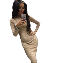 Buy 2017 Women's Autumn Spring Dresses Robe Sexy Black Midi Sheath Slim Bodycon Dress Long Sleeve Elegant Package Hip Vestidos GV424 for $12.21 in AliExpress store