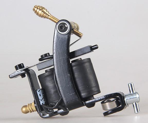 2015 New Professional Tattoo Machine 8 Warps Coils Cast Iron Black Tattoo Gun For Beginner Shader Liner Free Shipping tattoo