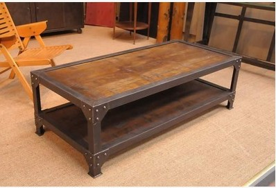 Country Style Wrought Iron Furniture LOFT Industrial Wood Coffee Table
