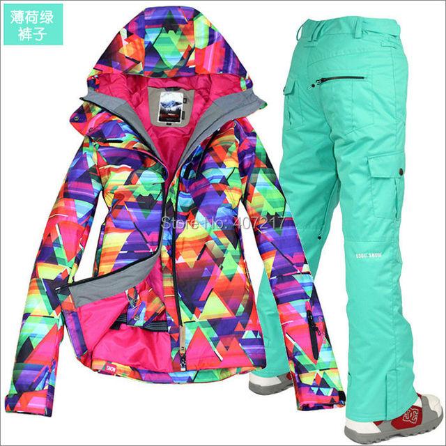 2014 горячие женские водонепроницаемые лыжный костюм дамы сноуборд одежда для лыжников красочные геометрический рисунок куртка и мятно-зеленый брюки XS-L