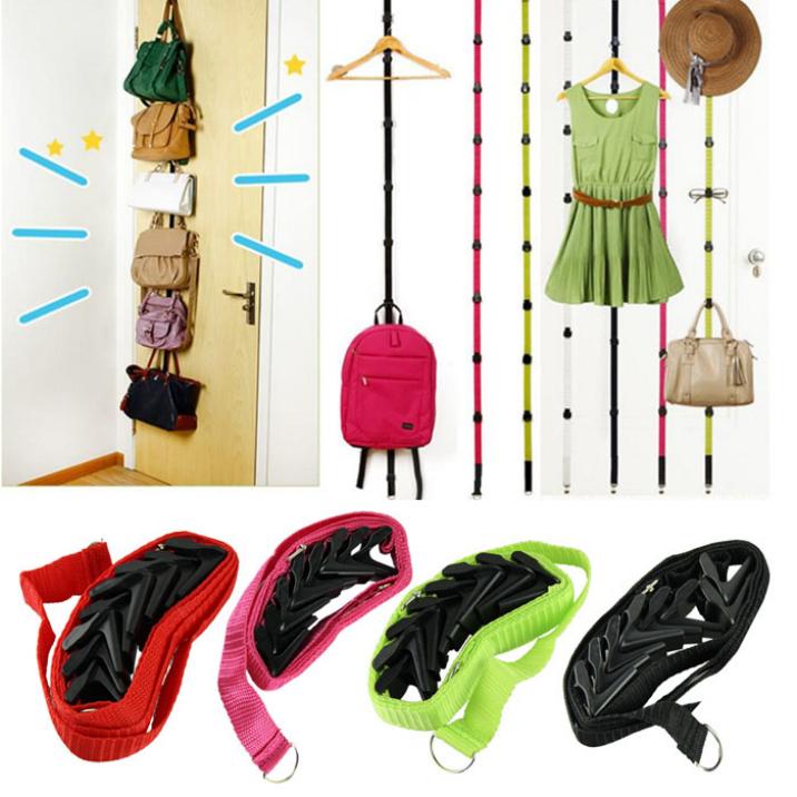 New Novelty Straps Hanger Adjustable Over Door Hat Bag Clothes Rack Holder Organizer 8 Hooks Best Deal Free Shipping 1pcs(China (Mainland))