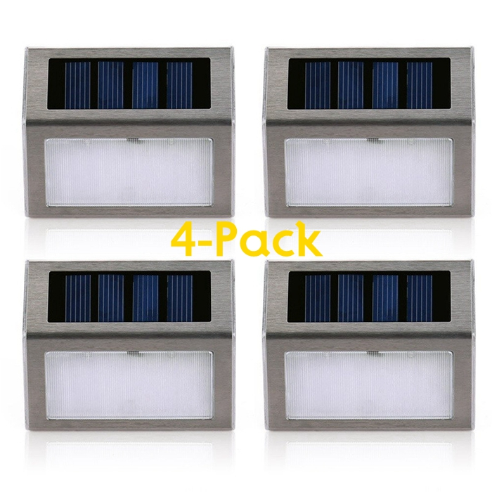 4 Pack 2 LED Solar Powered Wireless Stainless Steel Staircase Step Wall Light For Garden Fixture Lighting Outdoor Wall Lamp