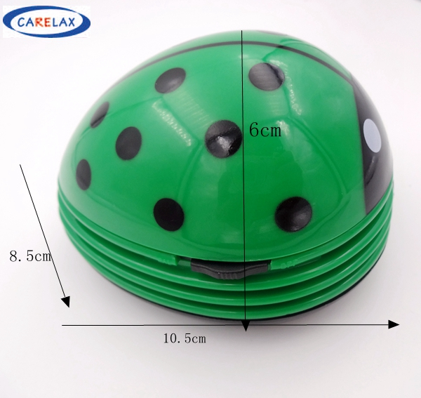 Green Ladybird Mini Keyboard Cleaner Robot Computer Vacuum Cleaner Dust Collector Beetle Clean Tool Electric Battery Operated(China (Mainland))