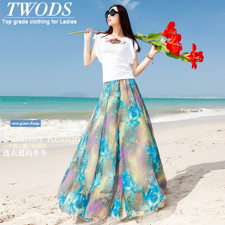 Twods 2015 new women long chiffon maxi skirts womens S 5XL plus szie clothing vintage sky