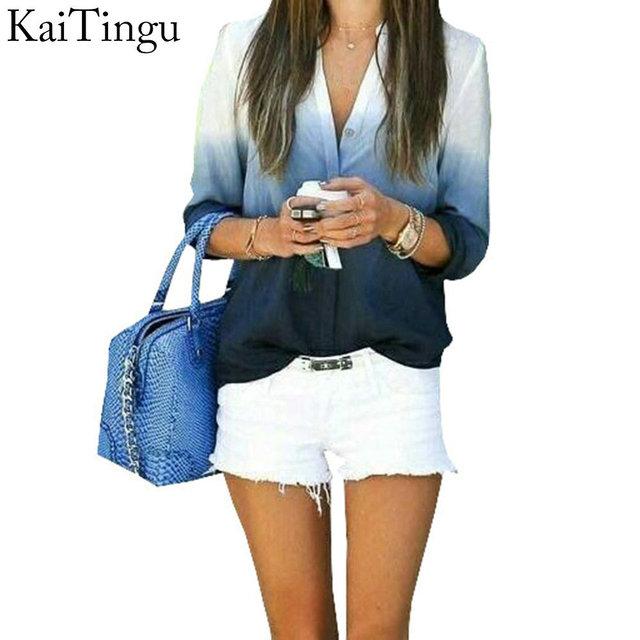 Kaitingu 2016 новое поступление женщин топы мода леди с длинным рукавом V шеи голубой ...