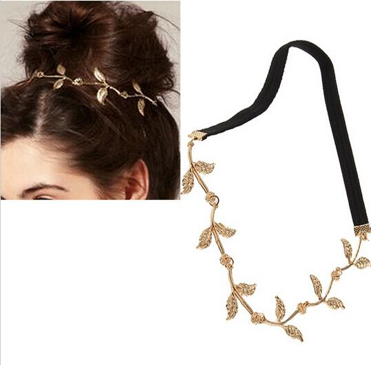 New Gold Elastic Romantic Olive Branch Leaves Headband Hair Accessories Fashion Headwear girl accessories Headdress xth035(China (Mainland))