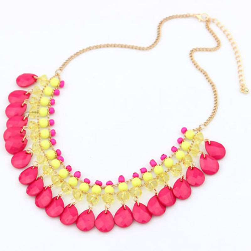 New Gros Bijoux Collier Femme Women Bohemia Drop Crystal Pendant Chain Choker Necklaces Pendants Bib Statement Necklace