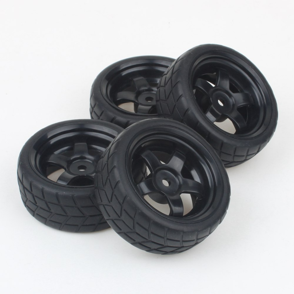 4PCS RC 1: 10 on road Car 5 Spoke Black Wheel Rims & Rubber Tires 65mm OD(China (Mainland))