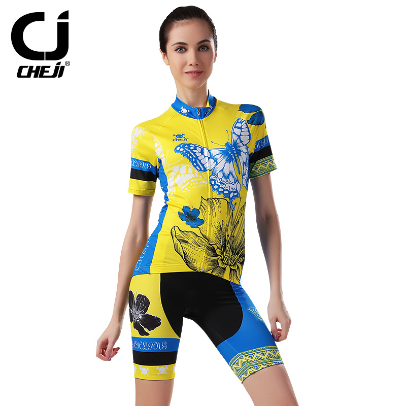 "Free shipping 2016 women breathable, sweat; 100% polyester material; butterfly yellow suit genuine ""CHEJI"" professional apparel(China (Mainland))"