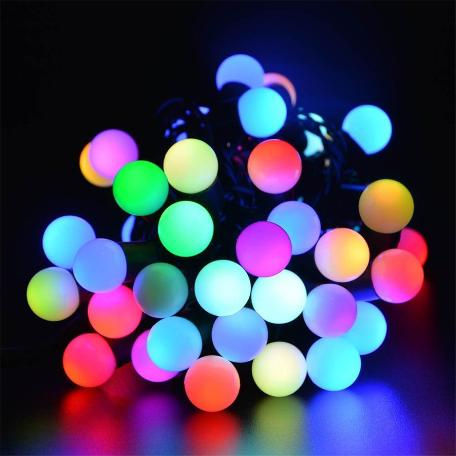 50 LED Ball String light solar powered 7M Flexible Rope light string waterproof outdoor decoration lamp for holiday party garden(China (Mainland))
