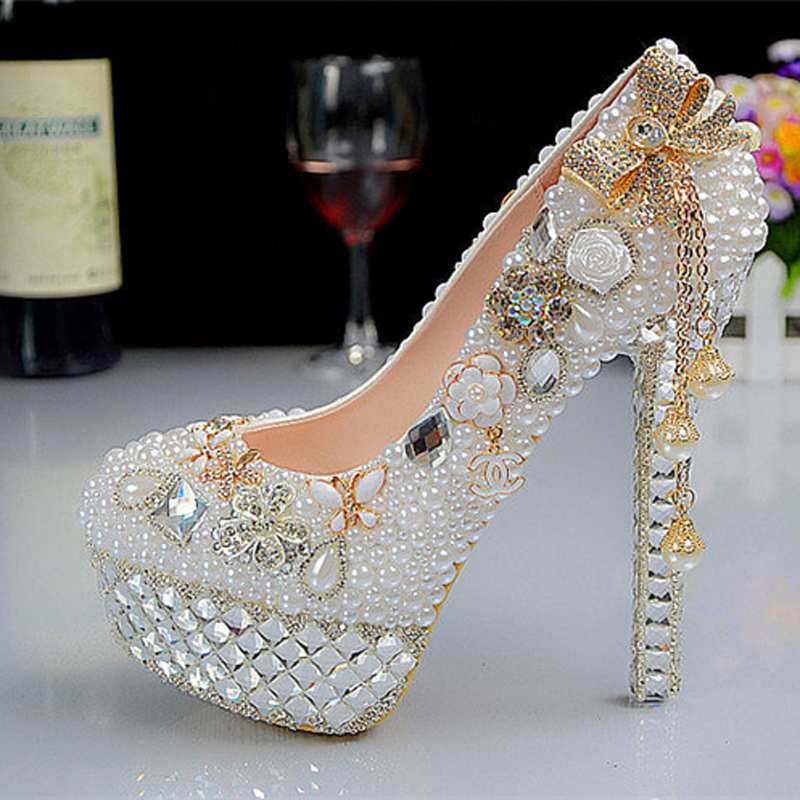 Здесь можно купить  New Fashion Crystal Pearl Wedding Shoes Ultra High Heels Platform White Bridal Formal Dress Shoes Rhinestone Dress Shoes  Обувь