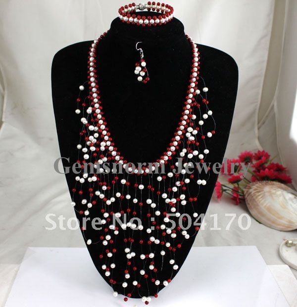 Stunning!Hand Weaved Red Coral/Cultured Pearl Jewelry Set Fashion Assorted Jewelry Illusion Jewelry Set New&amp;Hot Online CNR054<br><br>Aliexpress