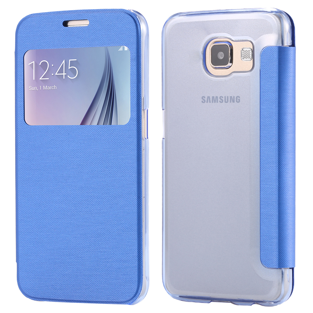 S6 New Window View Luxury Leather Case For Samsung S6 G9200 Accessories Cloth Skin Slim Front & Back Flip Cover For Samsung S6(China (Mainland))