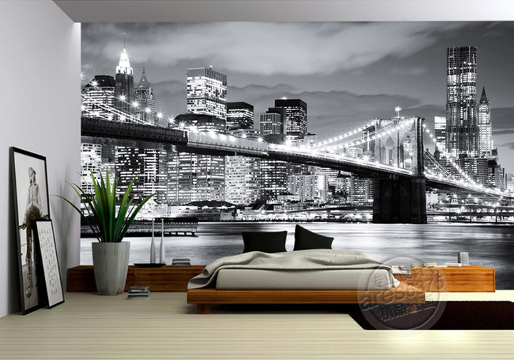Photo wallpaper picture more detailed picture about for Brooklyn bridge black and white wall mural