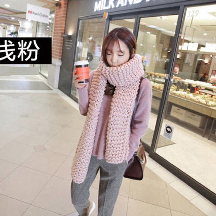 Hot Sale 2016 New fashion style Unisex Winter knitted Scarves Acrylic Collar Neck Warmer woman Crochet  solid Spain Loop Scarf