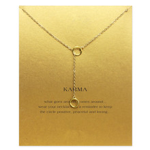 Sparkling karma double circle lariat necklace gold color plated Pendant Clavicle Chains Fashion Necklace Women Jewelry - YiWu Statement store