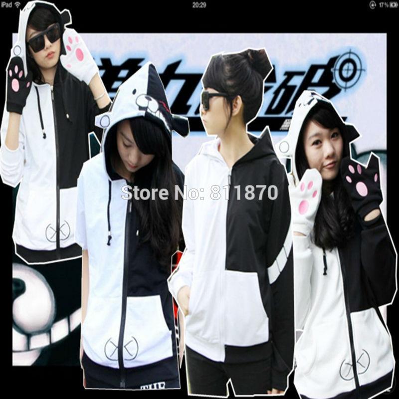 Cosplay Danganronpa Monokuma Costume Thin/Thick Hoodie Unisex Coat Jacket Sportswear Hooded Tops Sweatshirt With Gloves