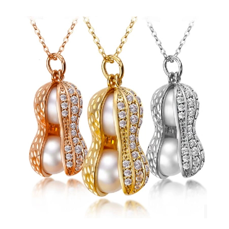 Fashion double pearl peanut necklace for women elegant natural pearl jewelry with AAA zircon platinum/gold plated(China (Mainland))