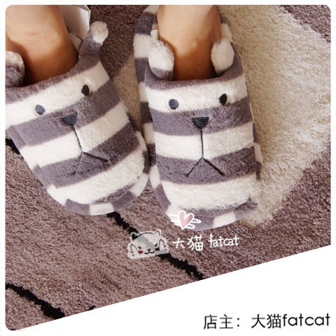 Special ! Japanese pear / small chili favorite striped plush bear home warm slippers / floor trailer at home slipper shoes woman(China (Mainland))