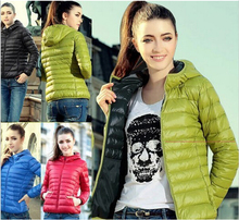 New 2015 Fashion Ladies Down Short Design Coat Winter Cotton-padded Jacket Women Slim Solid Zipper Outerwear