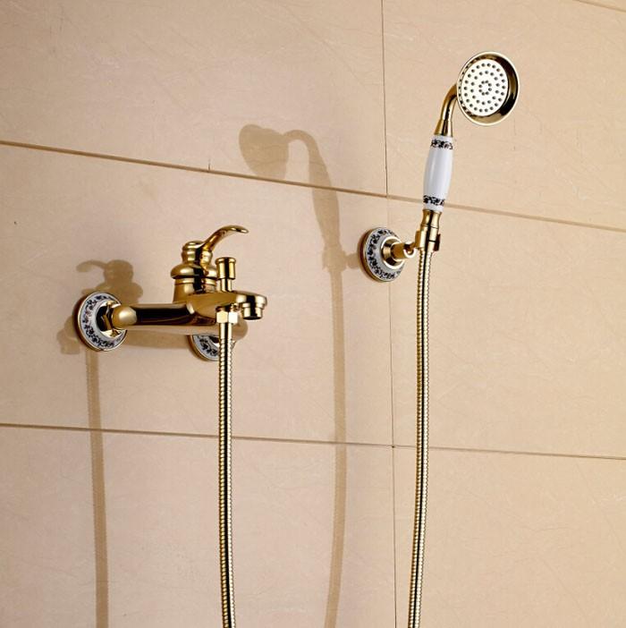 Купить Настенное Крепление Ванная Комната Handshower Кран Одной Ручкой Ванна Душ Смесители Золотой Цвет