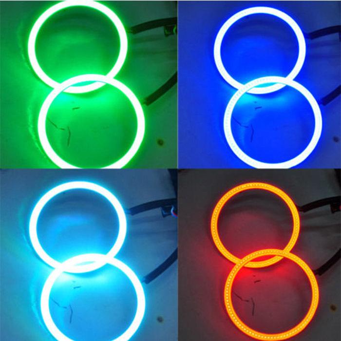 Fashion 1Set 2x80MM LED Multi-color RGB COB LED Angel Eye Halo Ring Flashing Strobing Smoothing Remote Control For Car Fog Light(China (Mainland))