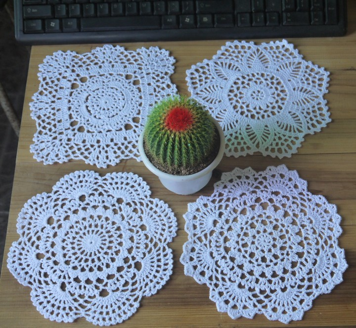 Free Crochet Patterns For Table Doilies : Free shipping crochet Doily table cover 20x20CM 4 Design ...