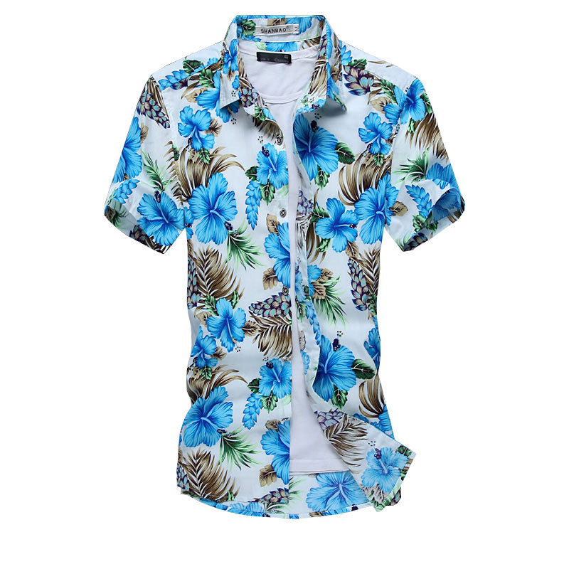 Blue Red Two Colors New Design Hawaiian Shirt Cotton ...