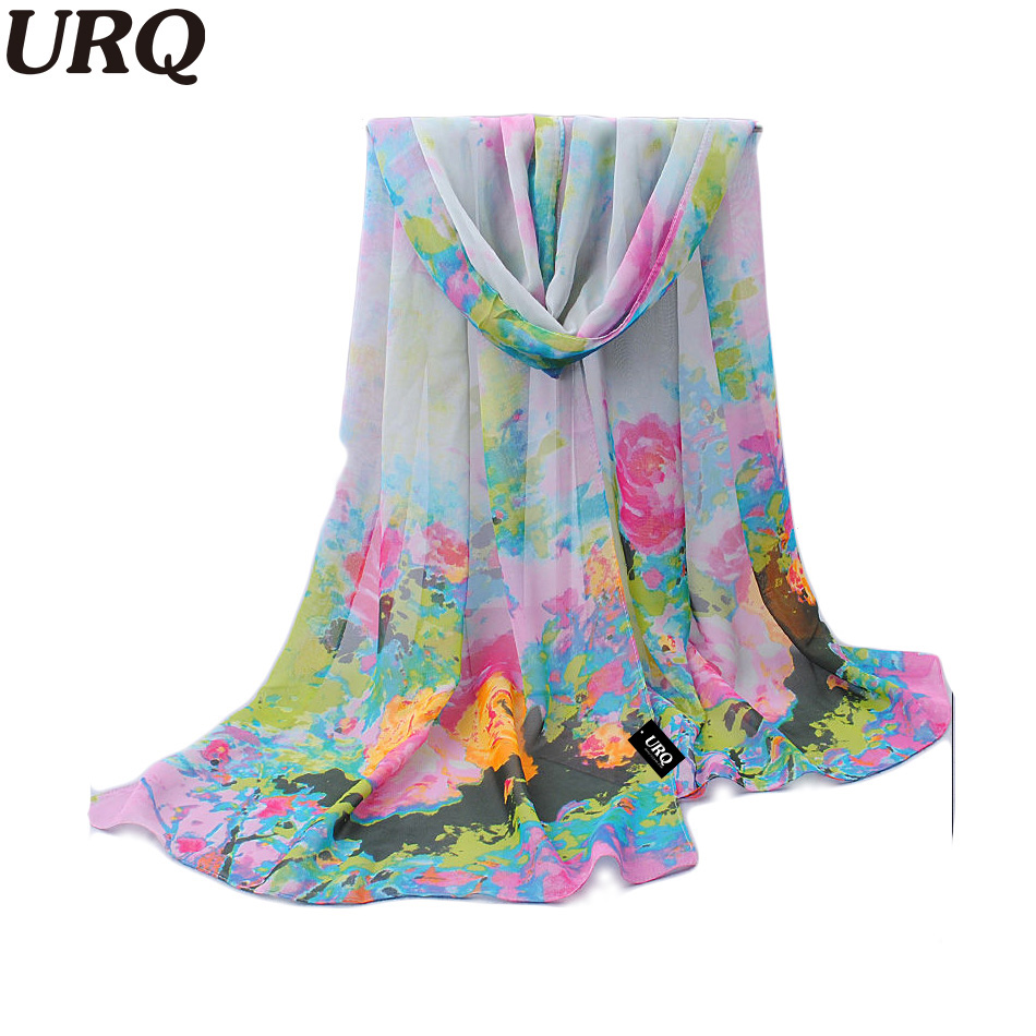 Unique Decorative Hijab Scarves Spring Chiffon Shawl Scarves Artist Paint Flower Long Silk Neck Warmer Scarfs 50*160cm 388(China (Mainland))