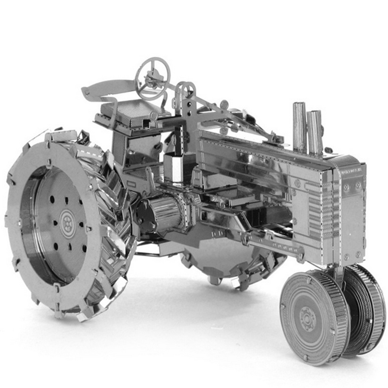 Brand New Aipin DIY Handmade 3D Puzzle Stainless Steel Assembled Model Tractor Silver Color(China (Mainland))