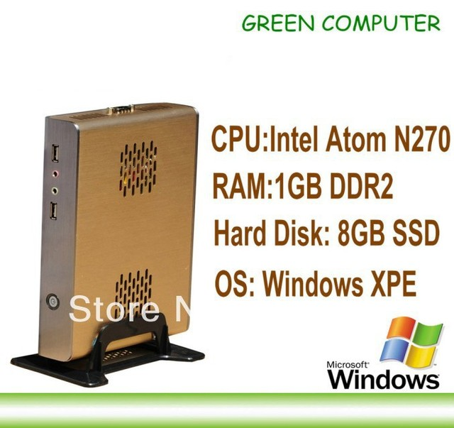 2013 Newest X86 Mini Computer Thin Client Mini PC with Windows XPE Embedded Atom N270 CPU 1GB RAM 8GB SSD