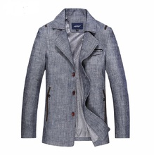 2015 Spring Autumn Man Casual Jacket Men's College coat men's trench with linen and cotton fabric size M-XXXL(China (Mainland))