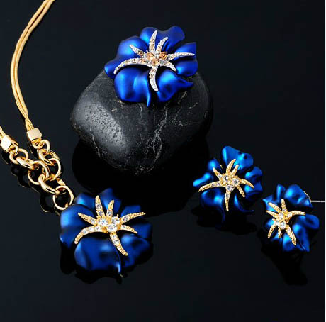 Blue Red Gift Woman Sea star flower bridal Jewelry sets Ring Earrings Necklace Sets s