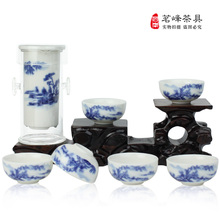 Freeshipping Glass kungfu black tea set blue and white tea Large red tea teapot  7pcs glass for tea set