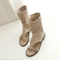 Girl Fashion Belt Buckle Knight Boots Lady Cut Outs Round Toe Summer Shoes Women New Zipper Square Heel Sandals Plus Size 34-43
