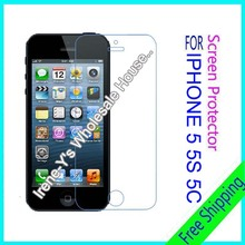 2pcs high clear glossy phone screen protector film For iphone 5G 5s 5c guard protective film + Cleaning cloth