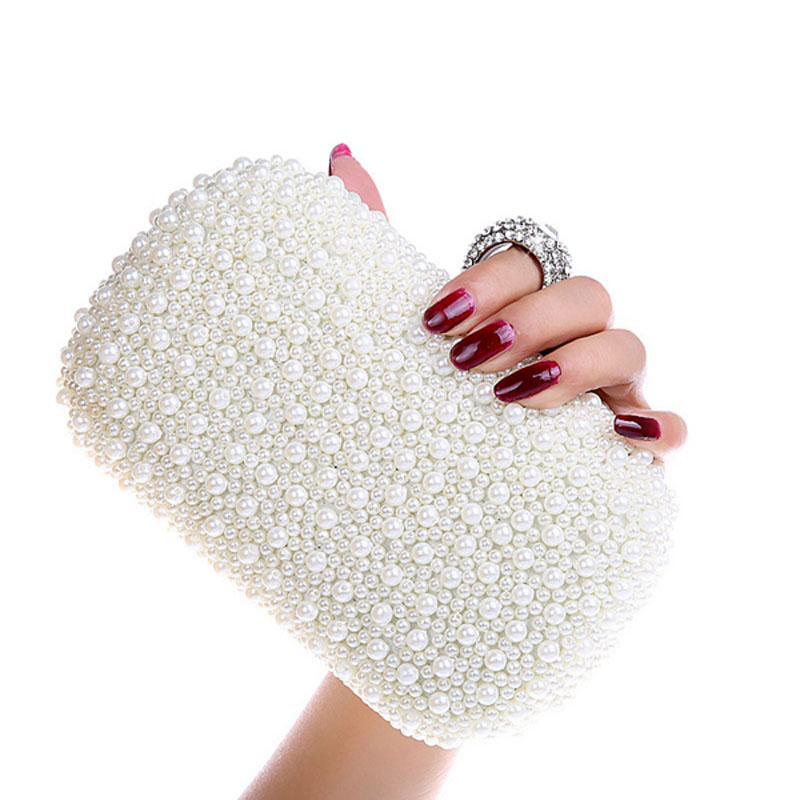 Elegant Ladies Pearl Beaded Evening Bag Diamond Ring Clutch Fashion Women Chain Hand Bags Wedding Dinner Party Purse bolso XA57H(China (Mainland))