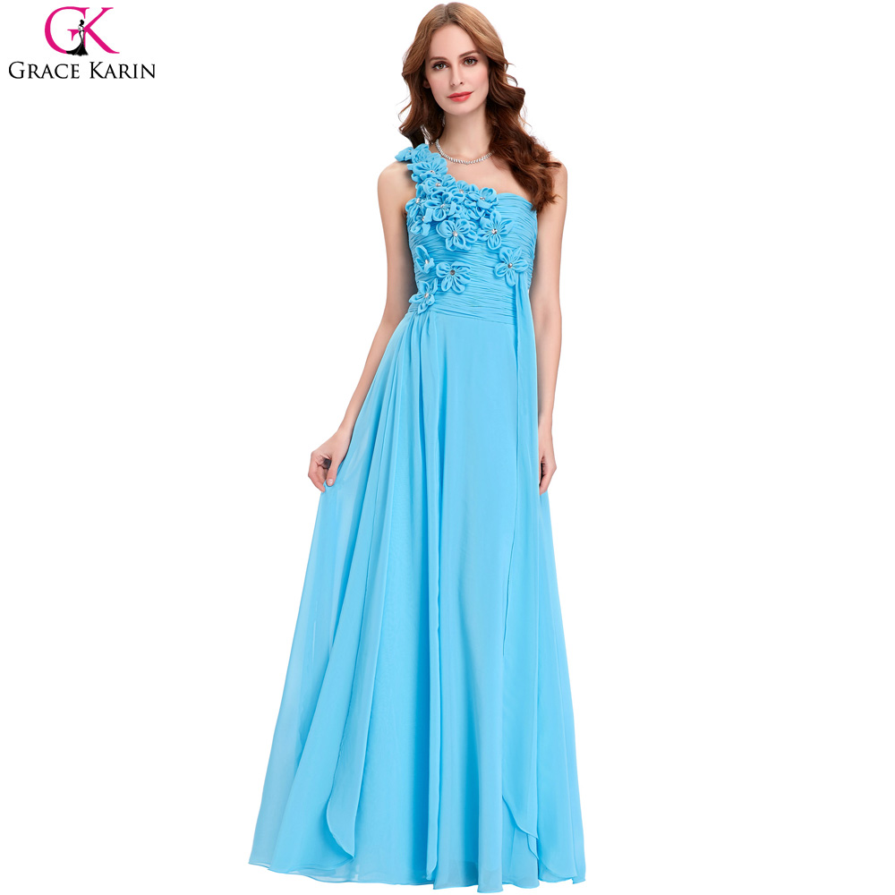 Compare prices on formal bridesmaid dresses online shoppingbuy grace karin turquoise bridesmaid dresses long chiffon bridesmaid dresses formal gowns elegant one shoulder wedding party ombrellifo Image collections