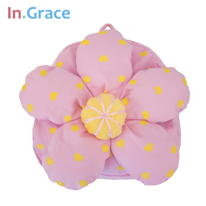 InGrace brand girls sweet backpack lifelike pink flower pattern plush backpacks for kids girls high quality baby bags freeship(China (Mainland))