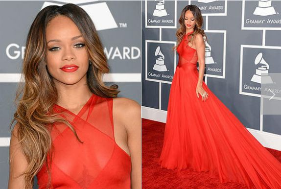 RIHANNA RED DRESS GRAMMYS 2013 - Jandese Reped